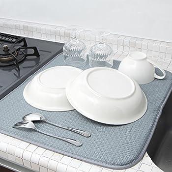 mikketa 水切りマット キッチン 食器 大判 速乾 吸水 グレー 【全8色】