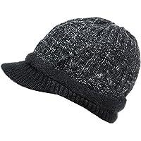 GLOUE Knitted Winter Warm Hat Peaked Beret Hat Ladies Classic Newsboy Style Cabbie Painter Wool Beret Bakerboy Visor Women Lady Ivy Cap Cloche Visor Skullies Beanies Visor for Women and Girls
