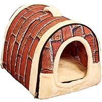 【ケーセブン】Kseven☆ ペットハウス 犬 猫 室内用 ふわふわ ドーム型 可愛い 折り畳み式 (M, レンガ柄)