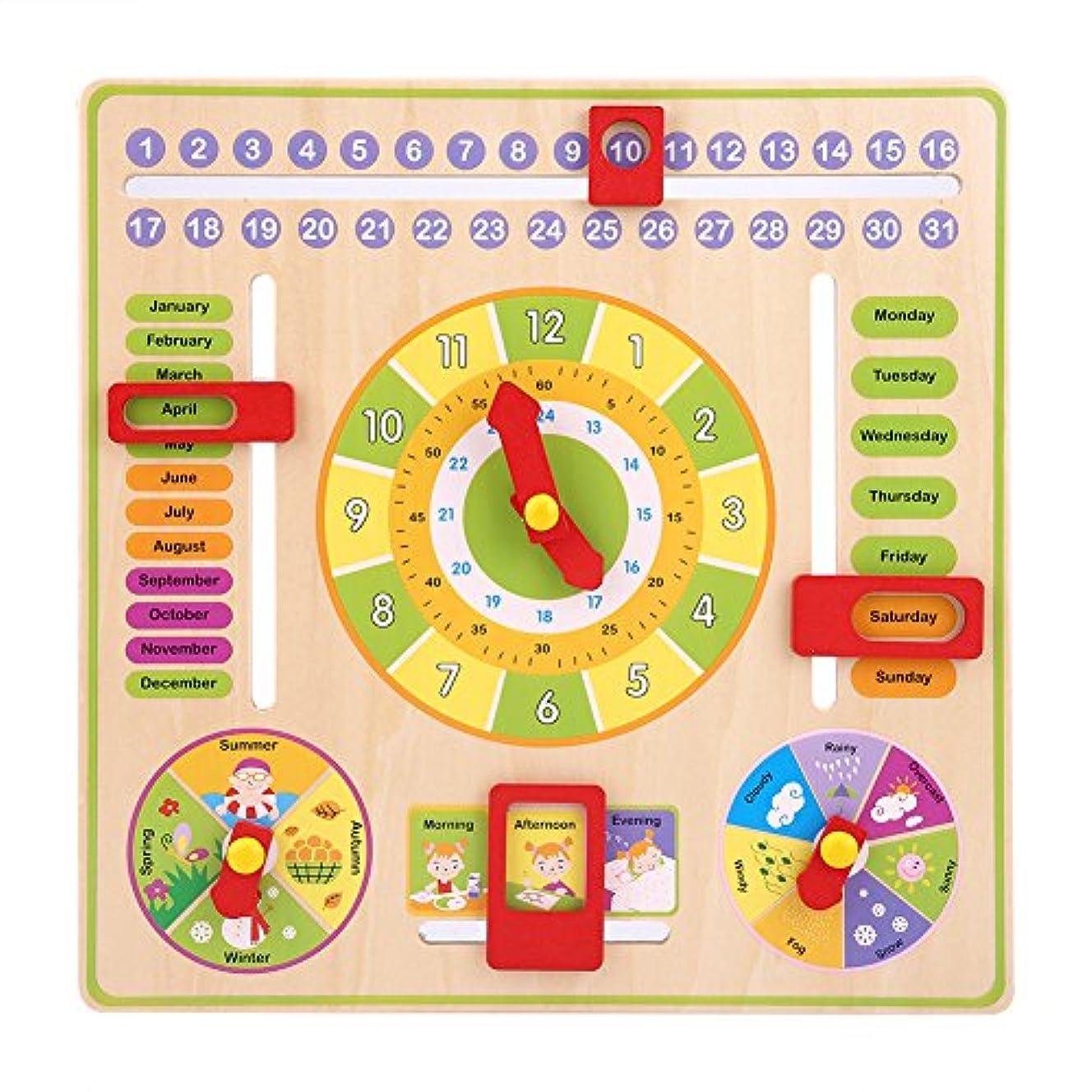 フォーム眩惑する原子木製時計教育玩具、初期教育多機能木製時計おもちゃ時間日付季節幼児の子供のための天気