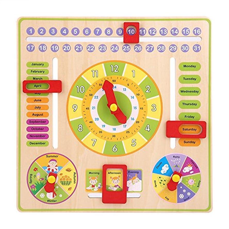 先生明るいクロス子供の教育のための初期の教育多機能木製時計おもちゃ、日時日付季節天気