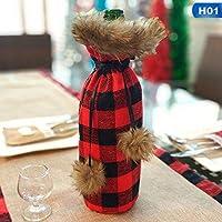 2019 新クリスマス装飾赤ワインボトルセットキッチンサンタ袋バッファローチェック柄家の装飾アクセサリー父の日