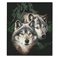 Perfeclan クロスステッチキット 14CT 動物 狼 刺繍セット 正確なプリント/空白 DIY 初心者 全2種 - 事前印刷