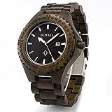 木製腕時計 ウッド 腕時計 メンズ アナログ腕時計 カレンダー付き アナログ表示 夜光 手作り 天然木 贈り物(黒檀)