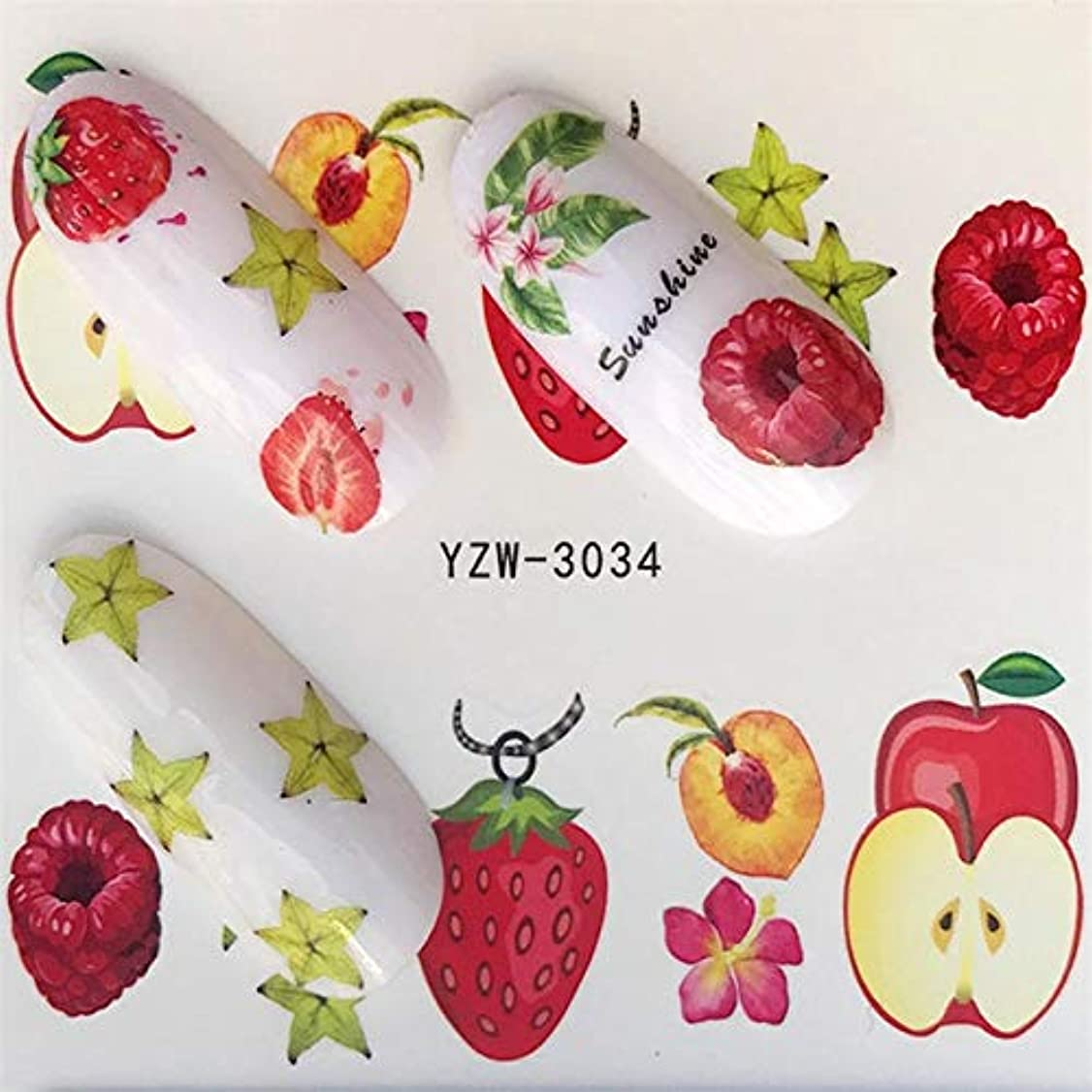 熱帯のクラブペニーCELINEZL CELINEZL 5個ウォータートランスファーステッカーデカールフラワーステッカーネイル用、色:YZW-3034