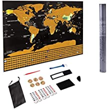 """Scratch Off World Map - 2018 Travel Scratch Map with US States - All Country Flags - Perfect Gift, Travelers' Favorite, Learn Cities & Countries   Extra Large Black 32"""" x 23"""" -"""