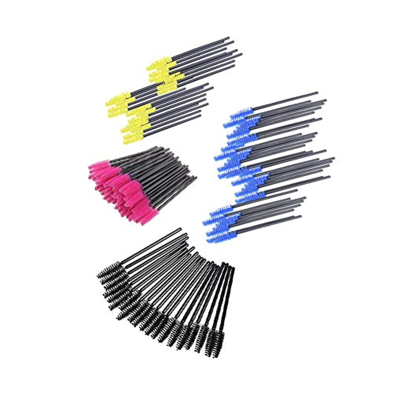 プット恐怖症ヒット200使い捨てまつげマスカラブラシカラー化粧品アプリケーターのまつげ化粧修復トークン黄/黒/赤/青のバラ