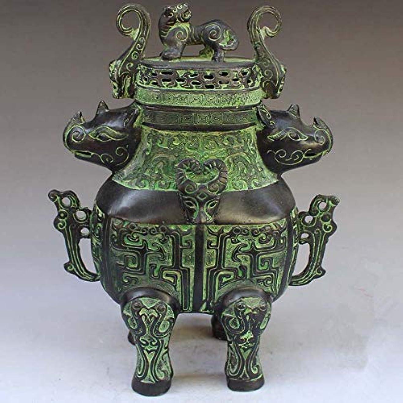 熱心な失う手順Chinese Bronze rhinoceros head beast head incense burner statue