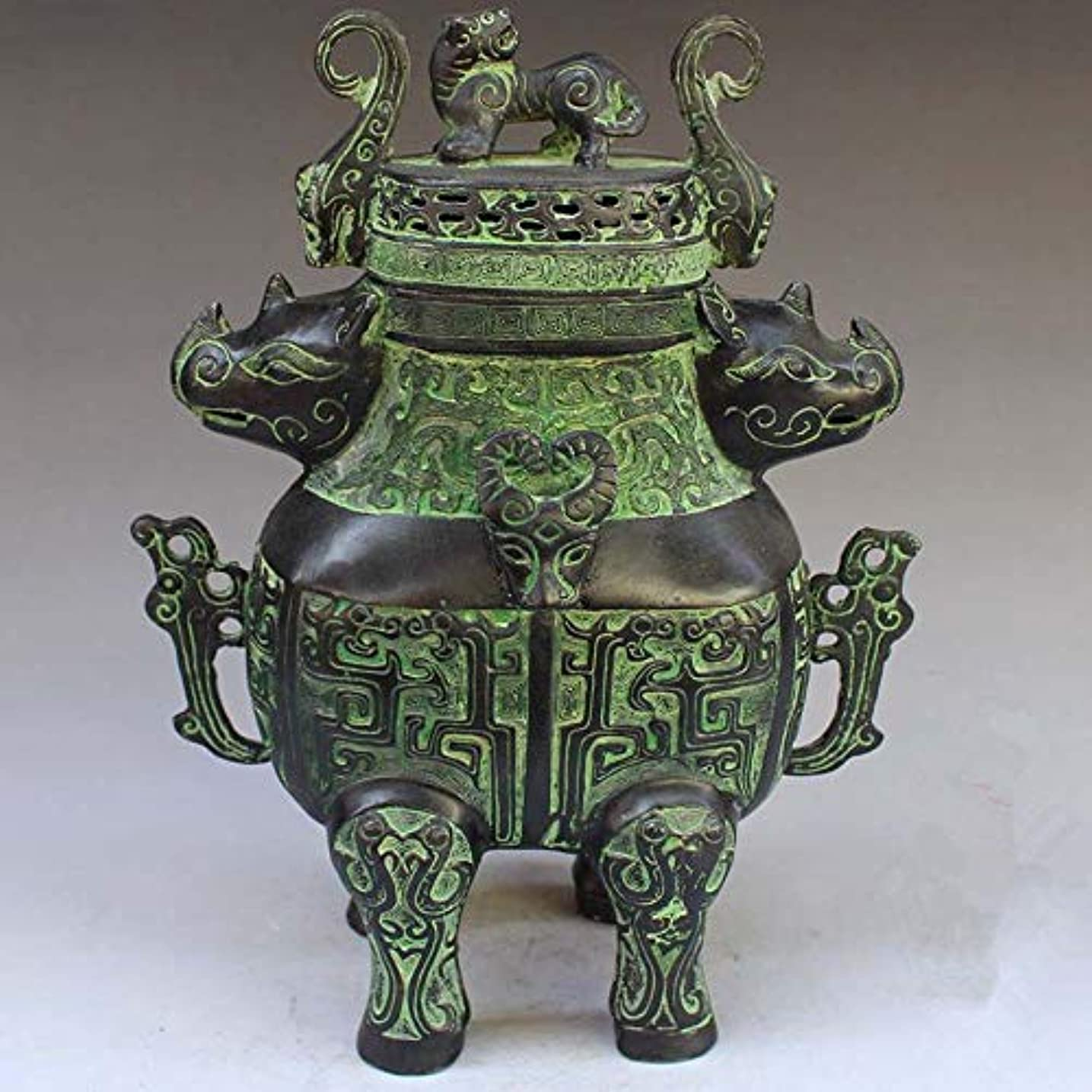 船上バスマーチャンダイジングChinese Bronze rhinoceros head beast head incense burner statue