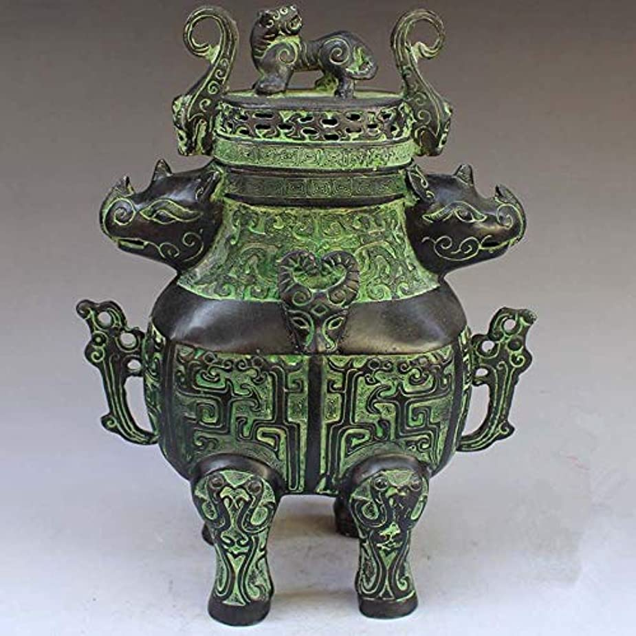 実行可能処方捧げるChinese Bronze rhinoceros head beast head incense burner statue