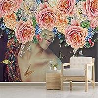 Mrlwy カスタム壁画壁紙ルーム現代手描きの水彩画の美しさ花の壁絵画の寝室の壁3D-280X200CMの装飾的な壁紙
