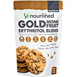 Golden Brown Monk Fruit Sweetener with Erythritol (1 lb / 454 g) - Perfect for Diabetics and Low Carb Dieters - 1:1 Sugar Replacement - No Calorie Sweetener, Non-GMO