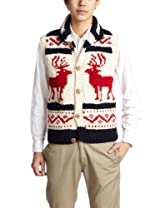 Canadian Sweater Company Deer Button Vest 09CN10: Navy / Red