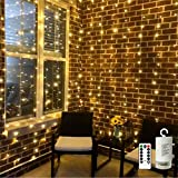 Battery Operated Curtain String Lights,300 LED Icicle Window Background Fairy Lights [Remote,8 Mode,Timer,9.8 ft ×9.8 ft, Dim