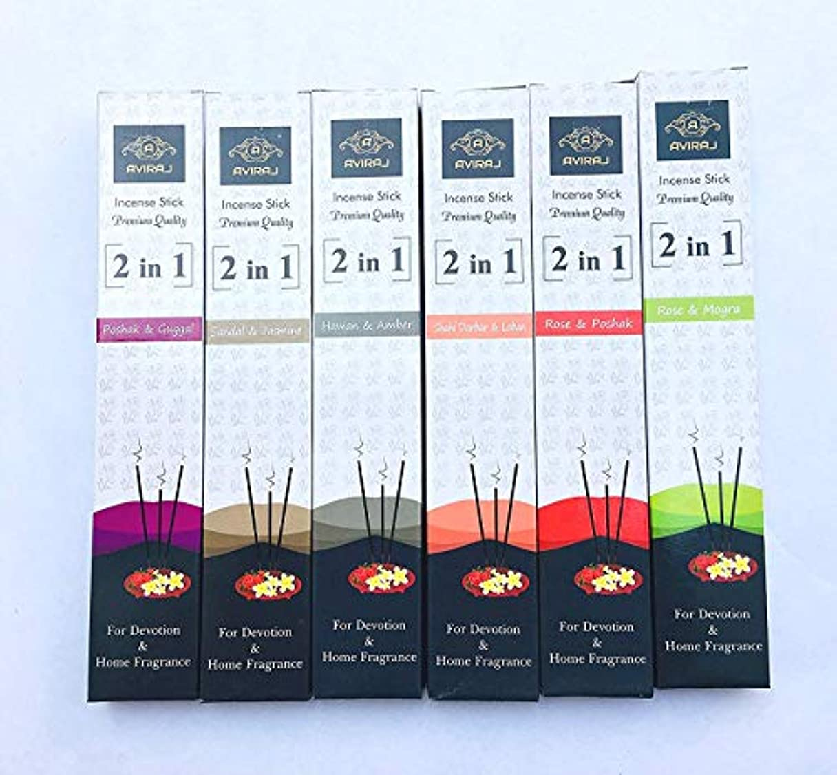 感謝する大通りスポンサーAviraj Premium Incense Agarbatti Sticks - 2 in 1 (Pack of 6) Use for Devotion, Yoga and home Fragrance