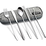 Portable Flatware Cutlery Set Dinnerware Tableware Spoon Fork Knife Chopsticks Set with a Organize Box (6pcs Stainless Steel Flatware)