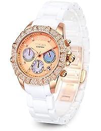 Time100 セラミック 日付表示 SEIKOクオーツ サファイアケース レディース腕時計 #W50056L.02A (ゴールデン)