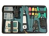 【四葉堂オリジナル】LANケーブル 自作工具 11点セット 収納ケース付き / RJ45プラグ 皮むき工具 テスター 圧着ペンチ ドライバー /LANの達人 自作向け 工具 道具 自家用