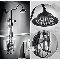YYF-SHOWER シャワーセット、 銅継手、 壁掛け式 8インチ トップスプレー 滝 バスルーム 蛇口、 ハンドシャワー   冷たいお湯 3穴設置、 ブラック 1.5mホース (色 : ブラック)