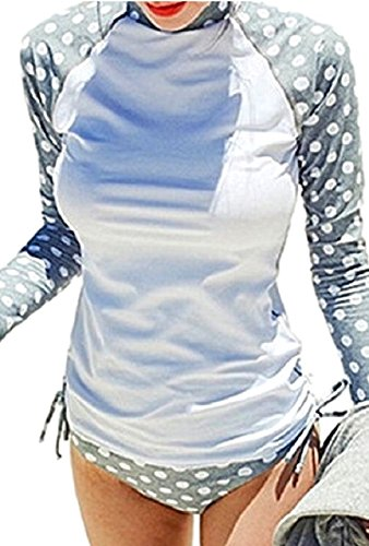 Aguilucho(アリルチョウ)体型カバー水着ラッシュガード長袖ハイネックセットレディース水玉ドット柄グレーMサイズ