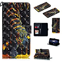Abtory Huawei Mate 20 X ケース,Huawei Mate 20 X ケース Cover,Wallet ケース PU Leather 3D Painted Folio Flip Cover, Card Holder Stand ケース with Wrist Strap for Huawei Mate 20 X Tiger