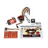 SkyRC 3250KV 10.5T 2極点 ブラシレス センサー/センサレス モーター + CS60 60A ブラシレス センサー/センサレス ESC スピードコントローラー + LED プログラムカード コンボ セット 1/10 1/12 RC ラジコン 車 バギー ツーリングカー用