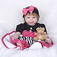 PKJOkmjko シミュレーション人形全シリカゲル赤ちゃん幼児教育迫真の女の子の人形迫真再生人形おもちゃ人形姫児童玩具児童に付き添って赤ちゃんが誕生日プレゼント風呂水は身長約55センチ