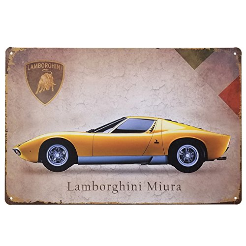 [해외][팬] Fun! 양철 간판 람보르기니 포스터 자동차 이탈리아어 자동차 스포츠카 노란색 옐로우/[Fan] Fun! Tin Sign Lamborghini Poster Car Italian Car Sports Car Yellow Yellow