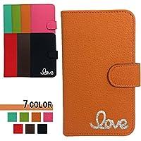 Galaxy Note10+ ケース 手帳型 ギャラクシー ノート10 プラス カバー SC-01M SCV45 galaxynote10plus 耐衝撃 スマホケース 全機種対応 love ラブ 飾り 国内生産 Orange [sc01m03d23sdqq09cc]