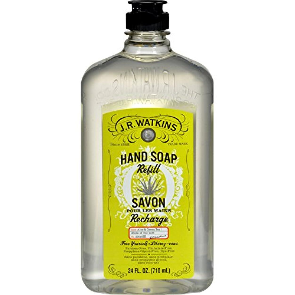 上陸フリッパー圧縮J.R. Watkins Liquid Hand Soap - Refill - Aloe and Green Tea - 24 fl oz