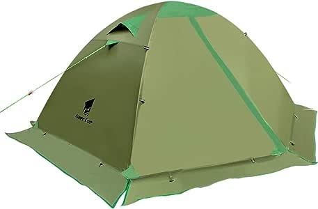 GEERTOP テント 2人用 スカート付き 4シーズンに適用 二重層構造 PU5000MM 軽量 キャンプ バイク アウトドア 登山用 簡単設営 140cm x 210cm 【ファスナー進化版】