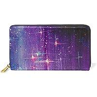 財布 レディース 長財布 大容量 かわいい 星空 星柄 スター カラフル おしゃれ きれい ファスナー財布 ウォレット 薄型 本革 型押し 小銭入れ プレゼント用