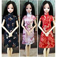 HelloJoy Lot 3 PCS Fashion Handmade Chinese Qipao Mandarin Dress for Barbie Doll XMAS GIFT