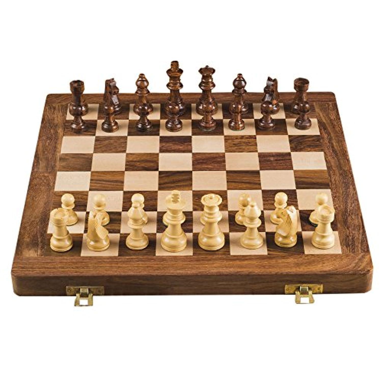 Rusticity木製チェスセット折りたたみボードとチェスピース|ハンドメイド| ( 12 x 12 in )