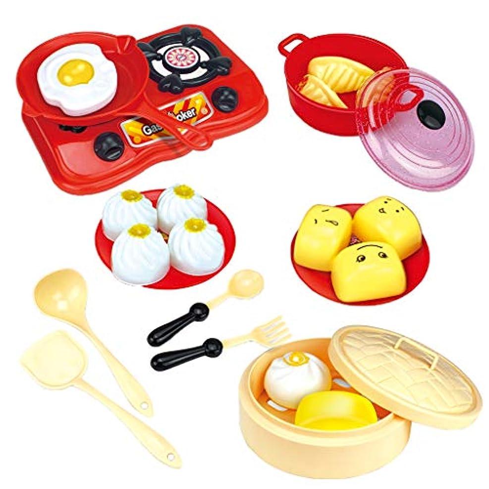 外出真空チェリー約18個セット おもちゃ キッチン セイロ ガス炉 オムレツ 中華料理 朝食調理 親子 知育 ふり遊び