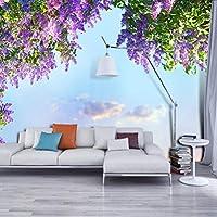 Ljjlm 3D部屋の風景の壁紙美しい花紫の壁壁画寝室の壁の装飾の壁紙ホームの改善-160X120CM