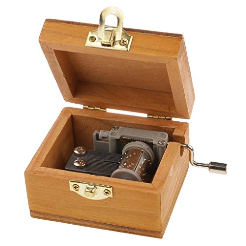 Flameer 木製 時計仕掛け 手回しオルゴール 音楽ボックス メロディボックス ギフト (天空の城)