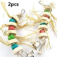 ペット玩具 ペット用品 Amberetech 噛む玩具 鈴付き 小動物用 ストレス解消 鳥歯磨き  可愛いおもちゃ 2点セット  吊下げタイプ玩具