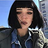 STfantasy Wigs for Women Bob Short Straigh Natrual Synthetic Charming Hair Wig with Bangs Daily Cosplay Party Hairpiece (Black)