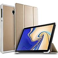 IVSO Samsung Galaxy Tab S4 10.5 SM-T830 (Wi-Fi)/SM-T835 (LTE) タブレット ケース 新型 Samsung Galaxy Tab S4 10.5 SM-T830 カバー NEWモデル スタンド機能付き 保護ケース 三つ折 マグレット開閉式 薄型 超軽量 全面保護型 サムスン Galaxy Tab S4 10.5 SM-T835 スマートケース ゴールド