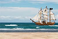 csfoto 6x 4ft背景for Pirate Ship Sailing on Sea写真バックドロップヨットwith Skull FlagセーラーキャプテンSea Ocean Seaside Beach Holidayハワイアンフォトスタジオ小道具ポリエステル壁紙
