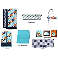 Bacati Liam Aztec 10 Piece Nursery-in-a-Bag Cotton Percale Unisex Crib Bedding Set, Aqua/Orange/Navy [並行輸入品]