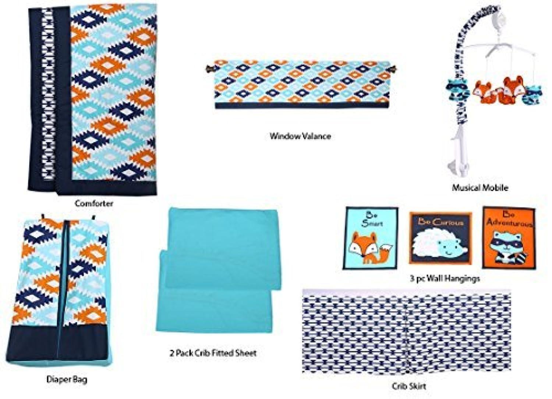 Bacati Liam Aztec 10 Piece Nursery-in-a-Bag Cotton Percale Unisex Crib Bedding Set, Aqua/Orange/Navy [並行輸入品]