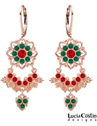 European Inspired Earrings Made of 24K Pink Gold over .925 Sterling Silver by Lucia Costin with Red and Green...