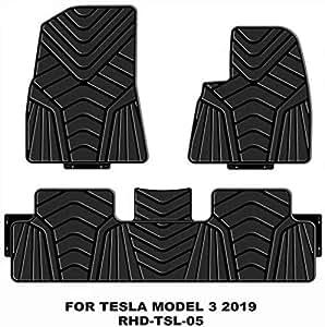 フロアマットTesla Model 3に対応全天候型ガード防水ノンスリップフロアマットカーTPEフィットフロアマットセット(ブラック)、右ハンドル