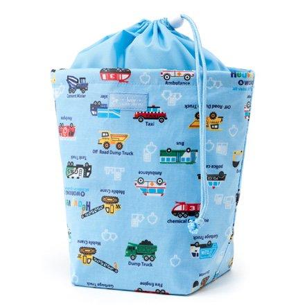 CANDY STYLE 消臭おむつポーチ 巾着 おむつバッグ 外出 日本製 アクセル全開はたらく車 スケアー地ライトブルー B1103700