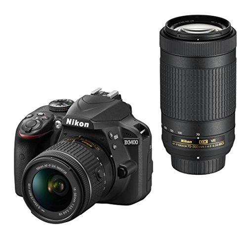 Nikon デジタル一眼レフカメラ D3400 ダブルズームキット ブラック D3400WZBK ク...
