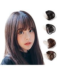 Hawkko前髪ウィッグ 100%人毛 総手植え レディース エクステ ポイントウィッグ ふんわり 超薄型 小顔 ワンタッチ 自然 耐熱 ばっつん/サイドあり