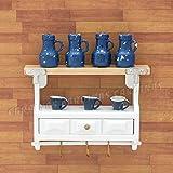 【Odoria ミニチュアキッチン】1/12 白い 木製棚 ブルーボトルコーヒーカップ付 家具ドールハウス
