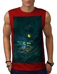 Wellcoda 自然 森林 綺麗な 男性用 S-5XL 袖なしTシャツ